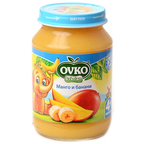 Овко Бебешко плодово пюре /Манго с банани/ 4 м.190 гр. 1086